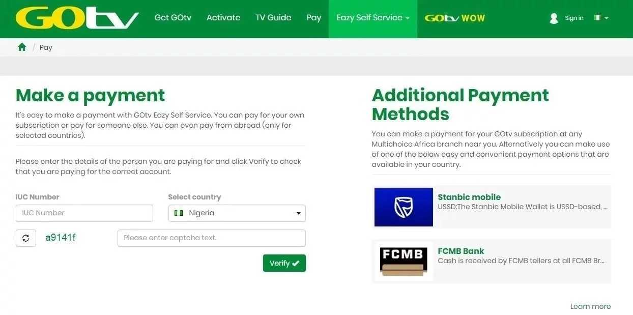Scooper - Technology News: GOtv payment options in Nigeria