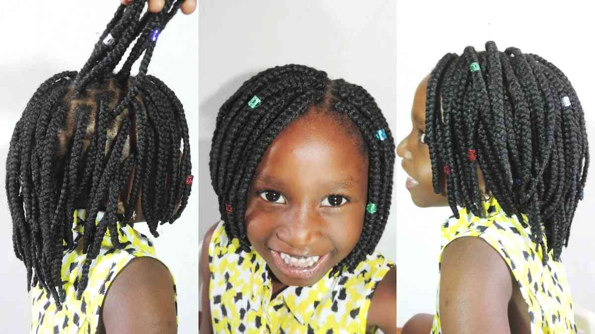 Bob braids should not pass the baby's shoulders. Bob braids are chic and go with whatever outfit the baby wears. They are also naturally neat as they are ...